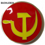 HAMMER & SICKLE BELT BUCKLE + display stand